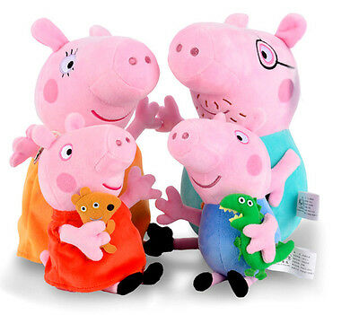 4PCS Peppa Pig Stuffed Soft Plush Doll Toy Peppa George Mummy Daddy Xmas Gift