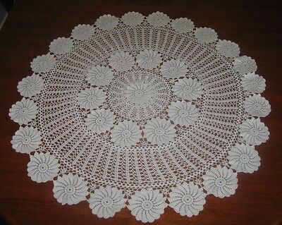 Vintage Crocheted Lace Tablecloth ~ Cotton ~ Cream ~ Round