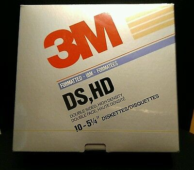 "10 Stück 3M Floppy Disketten 5,25 5 1/4"" NEU DS,HD IBM Lifetime Warranty"