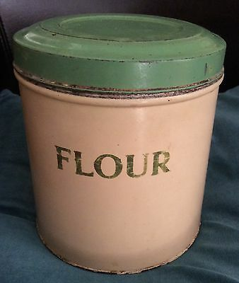 Vintage TALA Large Hinged Lid Green & Cream FLOUR Tin - Storage Jar Cannister