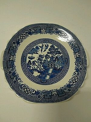 """Blue and white old willow flat 9"""" serving dish  Swinnertons, staffordshire"""