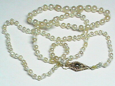 Antique Georgian Victorian 9k 9ct Gold Natural Pearl Necklace & clasp