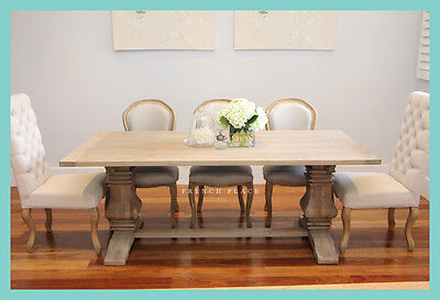 NEW French Provincial Hamptons Refectory Pedestal Oak Dining Table