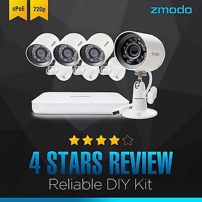 Zmodo 4CH NVR (4) 720P Outdoor Mini sPoE  Surveillance Camera System  HD IP Out