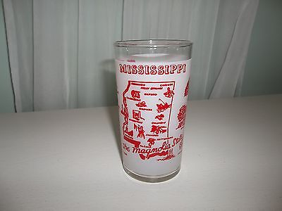 Vintage Federal Glass Mississippi The Magnolia State Souvenir Glass