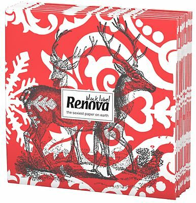 Renova Luxury 3 Ply Christmas Xmas Reindeer Printed Party Paper Tissues Napkins