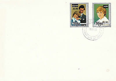 Niue 30 November 1983 Royal Wedding Revalued Pair On Plain First Day Cover