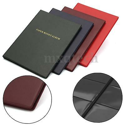 60 Pockets Leather Notes Album Banknote Paper Money Collection Stamps Book Color