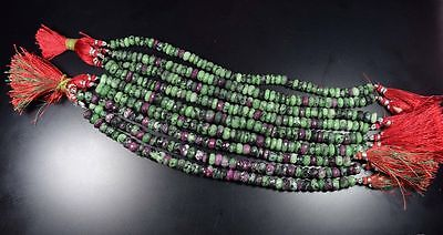 "7 Mm - 9 Mm 7.5 "" 100% Natural Attractive Ruby Zoisite Unheated Beads Strand"