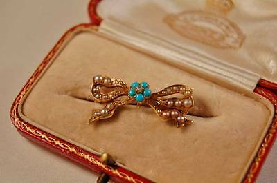 Victorian Gold Seed Pearl Turquoise and Diamond Bow Brooch 14ct 15ct