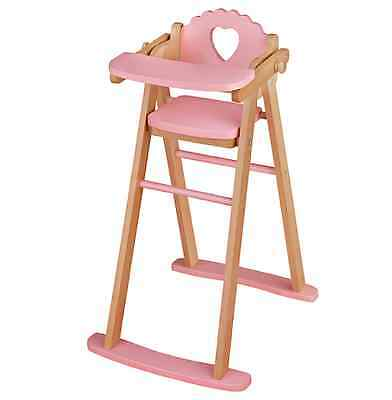 JOHN LEWIS Quality Pink Wooden Toy Doll/Teddy High Chair With Tray FREE P&P