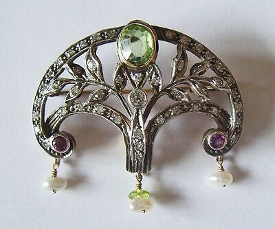 Outstanding Edwardian 15 Ct Gold and Silver Suffragette Brooch with 45 Diamonds