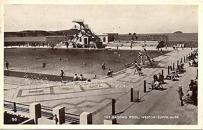The Bathing Pool - Weston-super-Mare - Somerset - Old Postcard posted 1953