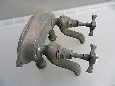 Vintage Chromed Brass Sink Mixer Taps Spout French Architectural Antique Nickel