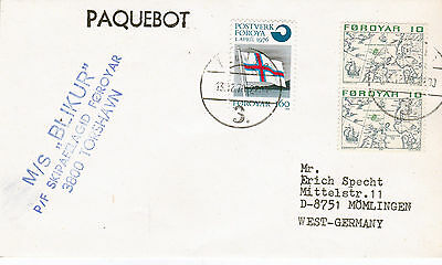 Greenland Passenger /ferry Ms Blikur A Ships Cached Cover Dated 1970