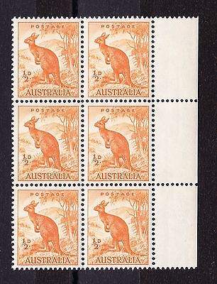 AUSTRALIA 1948-56 ½d WITH LINE TO KANGAROO'S EAR SG 228a MNH.