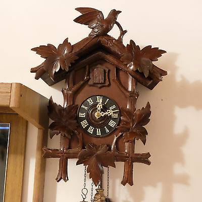 Antique Black Forest Cuckoo Clock Working Large Bird Wood Carving