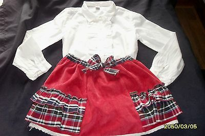 Kiriki,spanish Designer, Outfit,red/tartan Skirt,cream Frill Blouse/top