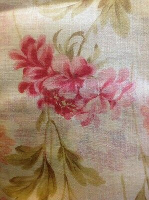 Antique/Vintage Fabric. Age Unknown. Lawn Cotton. French? Floral Pinks/Greens