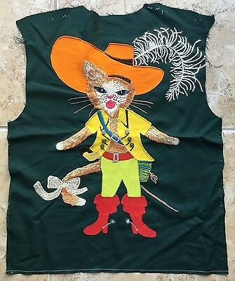 FAB Large Vintage Puss in Boots Hand Made Embroidery Cat Pirate Finished Panel