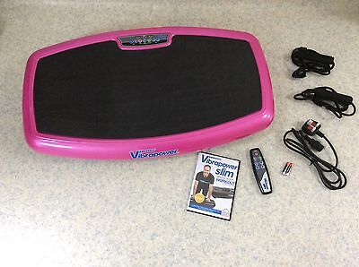Vibrapower Slim (Pink) Power Plate, 2Resistance Bands, Remote, Manual & DVD