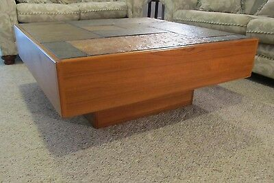 RARE Vintage Danish Teak & Slate Coffee Table Mid Century - Extremely Heavy