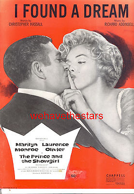 """PRINCE & THE SHOWGIRL Sheet Music """"I Found A Dream"""" Marilyn Monroe Olivier"""