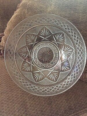 "Vintage Pressed Glass 10"" Decorated Salad Bowl"