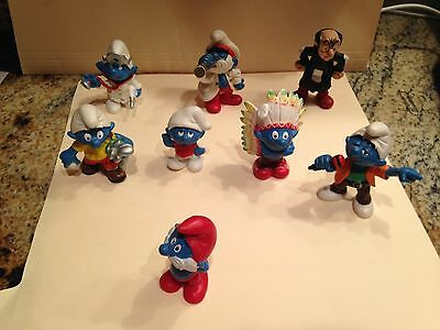 Lot of 8 Vintage Schleich Germany Peyo Smurf Figurines