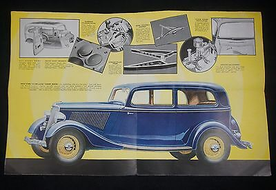 1934 Ford V-8 Brochure Large Color Spread Henry Ford Engine RARE! MUST SEE!
