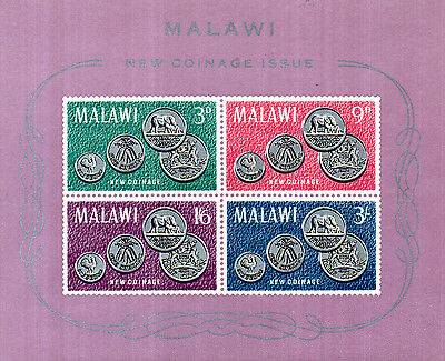 Malawi 1964 New Coinage Issue Miniature Sheet Ms 235 A Mnh