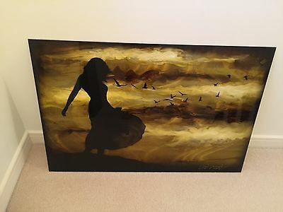 Chris DeRubeis Large Acryllic Painting on Metail Signed 'Cool Breeze'