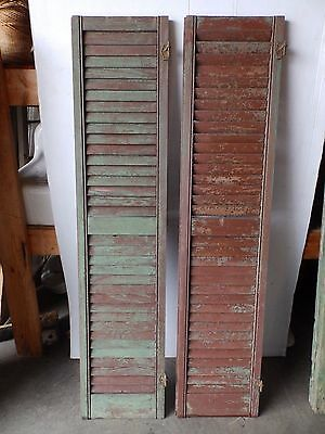 Pair Antique Shutters Door Window Louvered Vintage Painted Old 15x67 2246-16