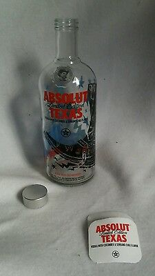 Absolut TEXAS City Series Collectible EMPTY bottle By Cruz Ortiz W/ Hang Tag