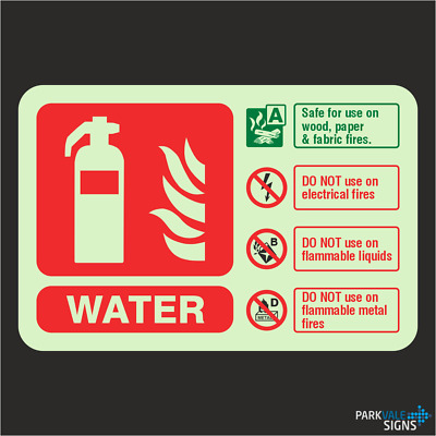 Photoluminescent Water Fire Extinguisher ID Sign