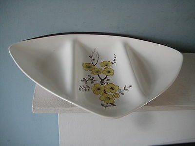 1950's Carlton Ware Triangular Sectioned Dish Hand Painted in the Mimosa Design