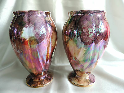"""Vintage Oldcourt Ware Lustre Art Vases Hand Painted Matching Pair 8"""" Tall"""