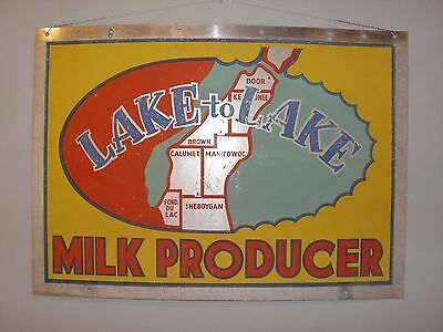 "antique dairy sign  ""Lake to Lake"""