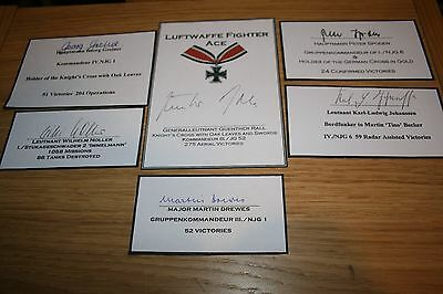 Multiple Luftwaffe Knights/Iron Cross Signed Book Plates