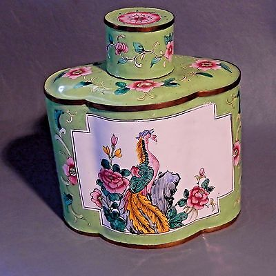 Chinese Canton Enamel Birds Hand Painted Urn Box Tea Caddy Incense Ginger Jar