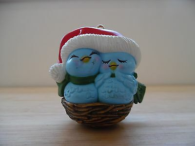 Vintage 1992 Avon Nestled Together Ornament~Bluebirds~Nest~Santa Hat
