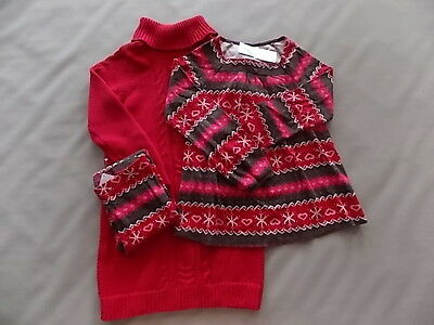 NWT Girl's Gymboree Christmas Winter Cheer red sweater shirt leggings outfit ~ 5