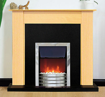 Fireplace Suite Electric Fire Heater Beech Surround Black Back Panel Hearth
