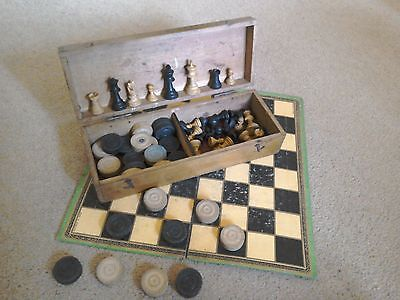 Wooden Chess and Draughts Set, ....Wooden boxed with board.