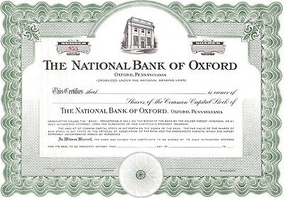 The National Bank Of Oxford (Pennsylvania).....unissued Stock Certificate