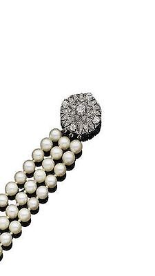 Exquisite Pearl Choker With Diamond And Gold Clasp - Three string necklace