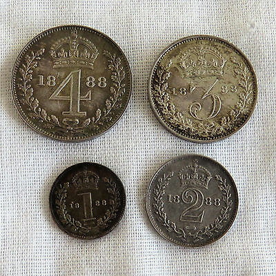 1888 Queen Victoria Jubilee Head 4 Coin Maundy Set