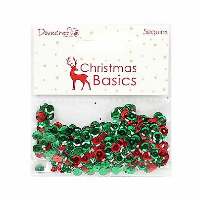 Dovecraft Christmas Basics Sequins - Red and Green