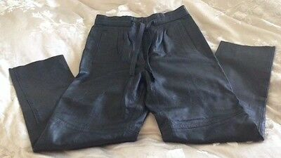 """Vintage Real Leather Black Trousers High Waisted Size 14 Waist 32"""""""