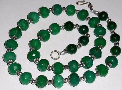 Antique Vintage Carved Chinese Apple Green Jade Bead Sterling Silver Necklace